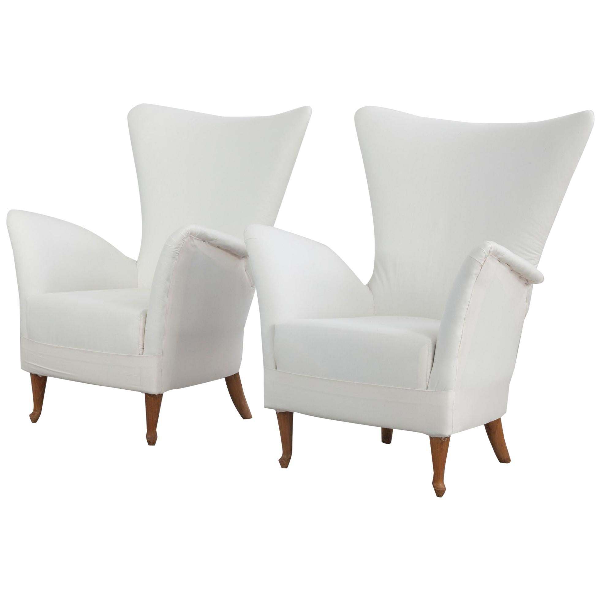 Set of Two Italian Ponti Stile Armchairs from Italy, 1950s