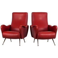 Set of Two Italian Red Faux Leather Armchairs with Brass Legs, 1950s