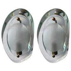 Set of Two Italian Sconces Model 2093 Designed by Max Ingrand for Fontana Arte