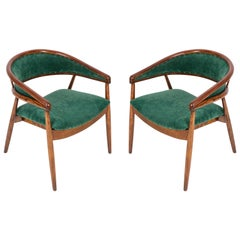 Set of Two James Mont Bent Beech Armchairs, Dark Green, B-3300 Type, 1960s