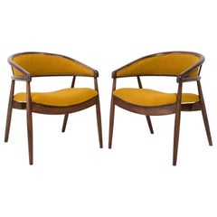 Set of Two James Mont Bent Beech Armchairs, Yellow Ochra Boucle, 1960s