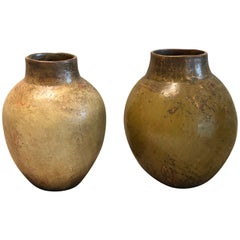 Set of Two Jar Vases Green