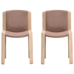 Set of Two Joe Colombo 'Chair 300' Wood and Kvadrat Fabric by Karakter