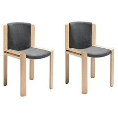 Set of Two Joe Colombo 'Chair 300' Wood and Kvadrat Fabric by Karakter