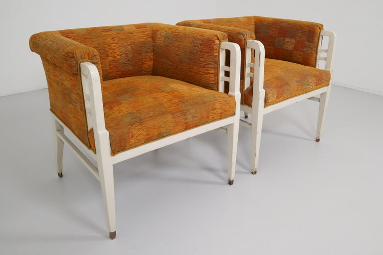 Set of Two Jugendstil Armchairs, Vienna, 1910s In Good Condition For Sale In Almelo, NL