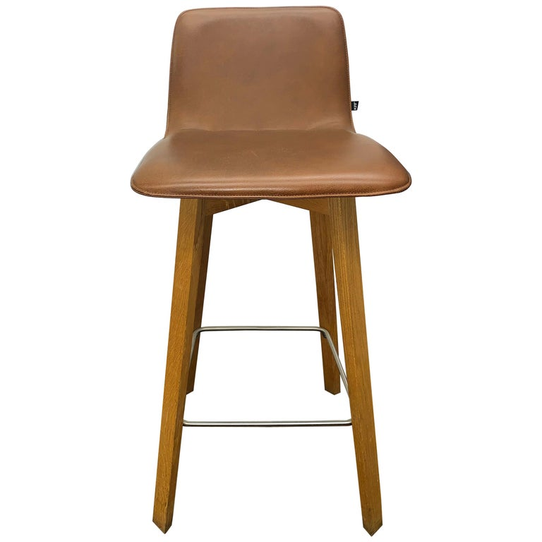 Set of Two KFF Maverick Stool in Brown Leather and Oak Wood Frame For Sale
