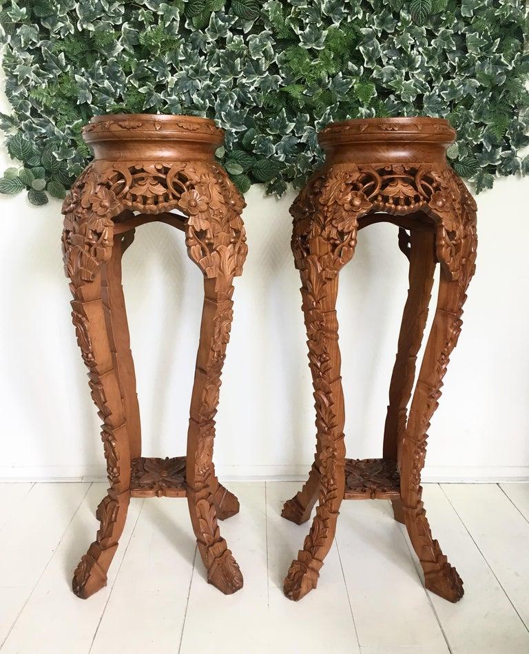 Set of Two Large Brown Hand Carved Plant Standards, Pedestals For Sale 3