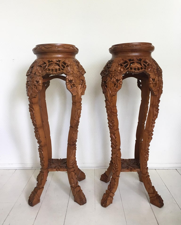 Bohemian Set of Two Large Brown Hand Carved Plant Standards, Pedestals For Sale
