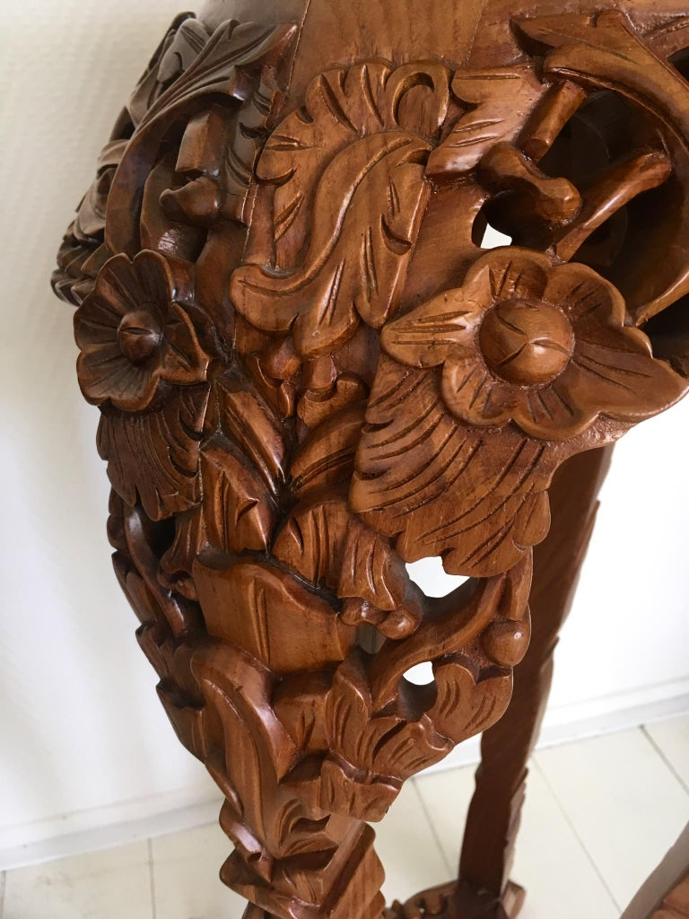 Asian Set of Two Large Brown Hand Carved Plant Standards, Pedestals For Sale