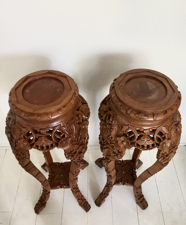Set of Two Large Brown Hand Carved Plant Standards, Pedestals For Sale 1