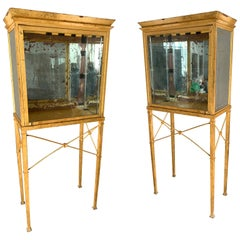 Set of Two Large Custom Made Gilded Metal and Mirror Glass Display Cabinets