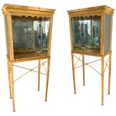Set of Two Large Custom-Made Gilted Metal and Mirror Glass Display Cabinets