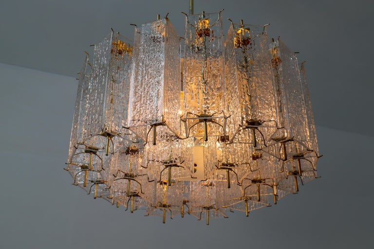 Set of Two Large Midcentury Chandeliers with Ice Glass Tubes in Brass Fixture For Sale 3