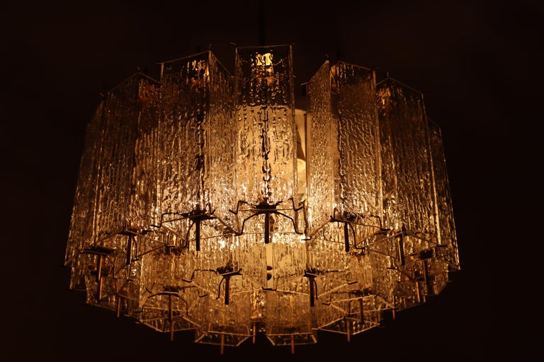 Set of Two Large Midcentury Chandeliers with Ice Glass Tubes in Brass Fixture For Sale 4