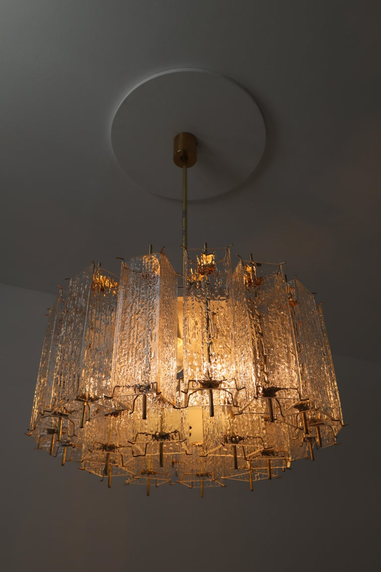 Set of Two Large Midcentury Chandeliers with Ice Glass Tubes in Brass Fixture For Sale 5