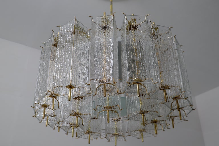 Set of Two Large Midcentury Chandeliers with Ice Glass Tubes in Brass Fixture For Sale 7
