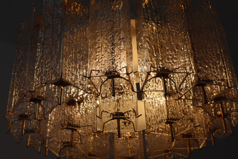 European Set of Two Large Midcentury Chandeliers with Ice Glass Tubes in Brass Fixture For Sale