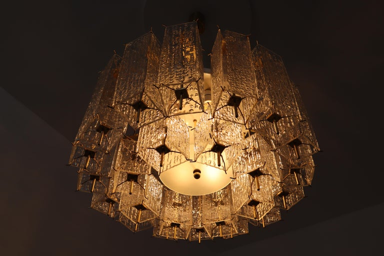20th Century Set of Two Large Midcentury Chandeliers with Ice Glass Tubes in Brass Fixture For Sale