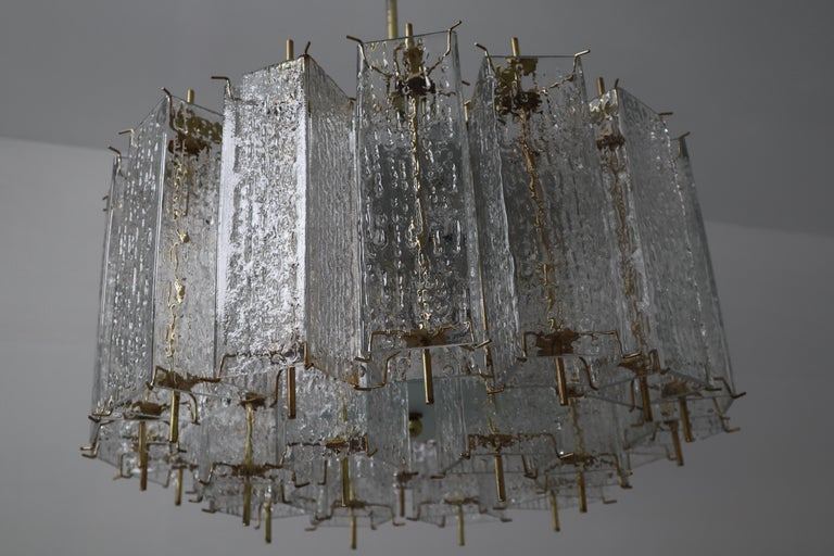 Set of Two Large Midcentury Chandeliers with Ice Glass Tubes in Brass Fixture For Sale 2