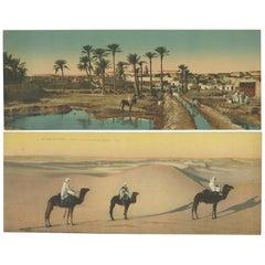 Set of Two Large Panoramic Vintage Postcards of the Sahara, 'circa 1920'