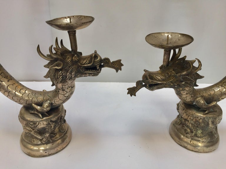 Set of Two Large Silvered Cast Metal Candle Stands Asian Dragons Sculptures For Sale 2