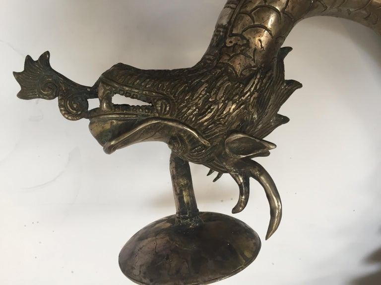Set of Two Large Silvered Cast Metal Candle Stands Asian Dragons Sculptures For Sale 7