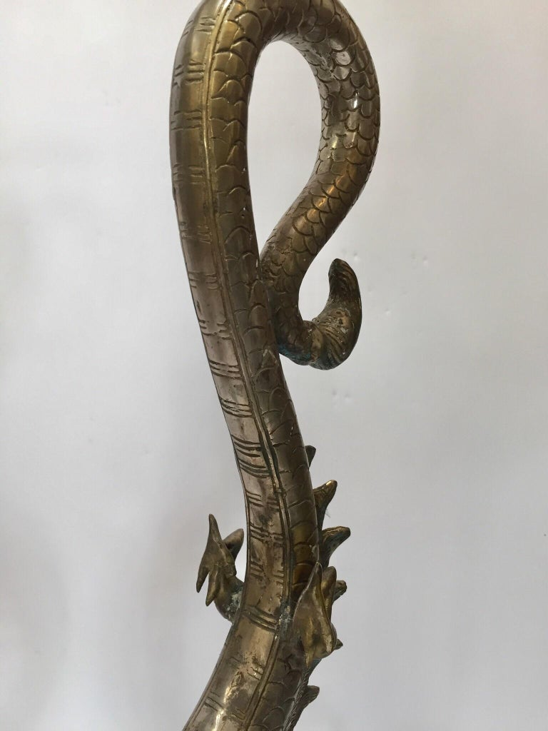 Set of Two Large Silvered Cast Metal Candle Stands Asian Dragons Sculptures For Sale 9