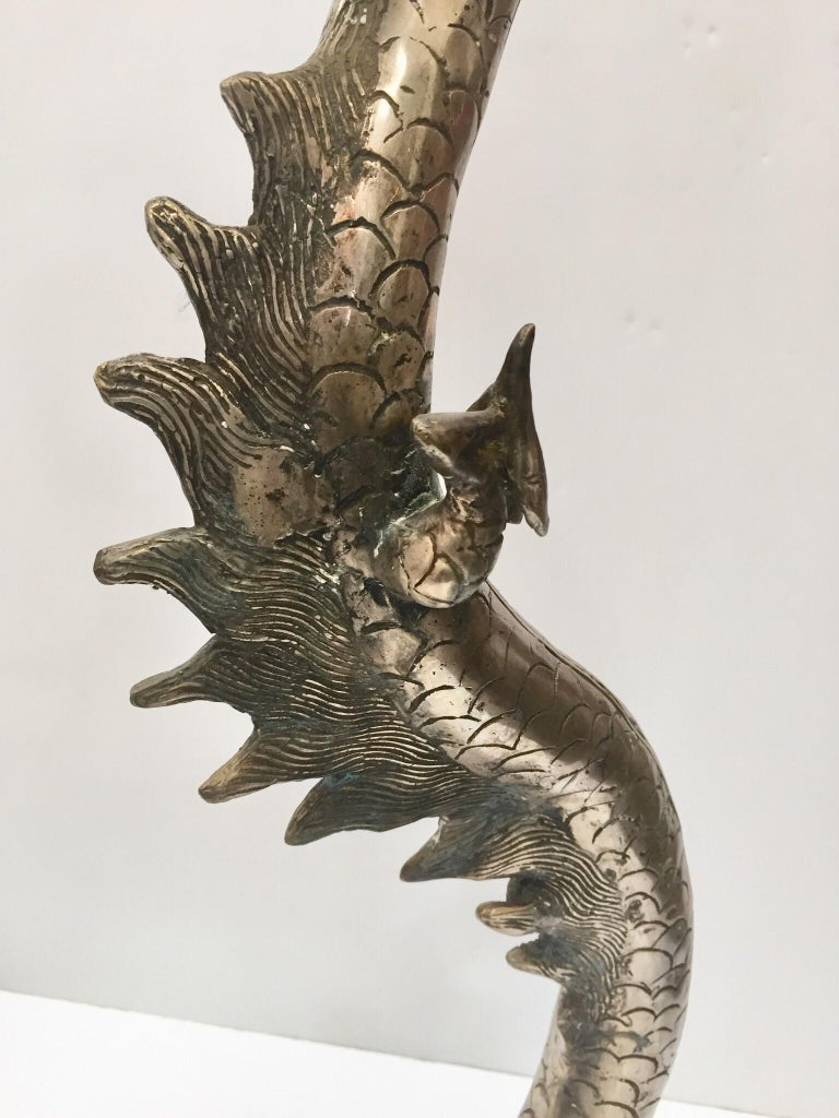 Hand-Carved Set of Two Large Silvered Cast Metal Candle Stands Asian Dragons Sculptures For Sale