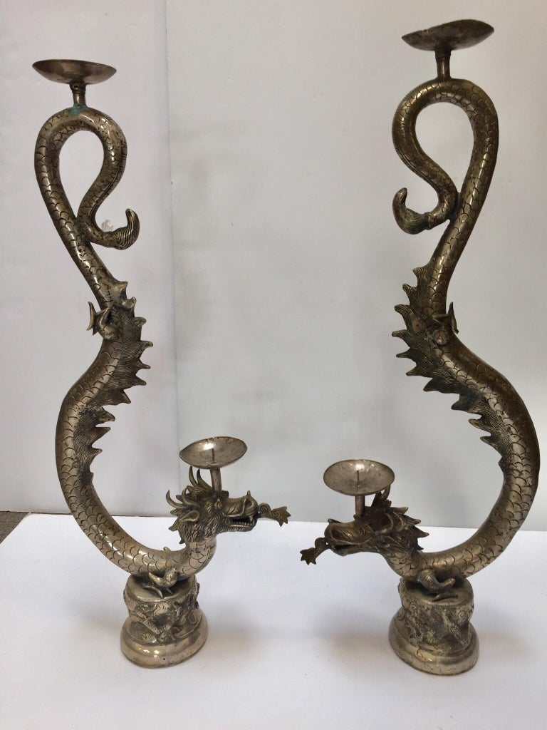 Set of Two Large Silvered Cast Metal Candle Stands Asian Dragons Sculptures For Sale 1