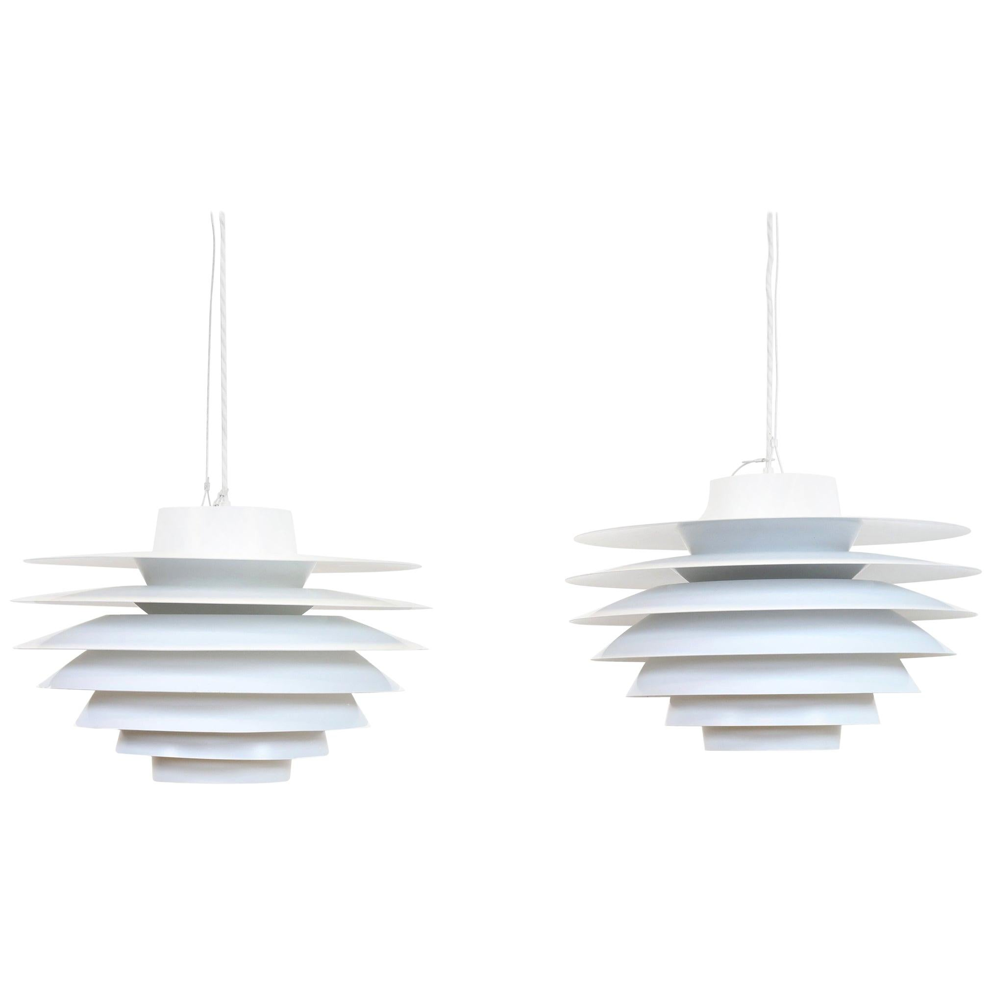 Set of Two Large White Svend Middelboe Verona Pendants, 1960s, Denmark