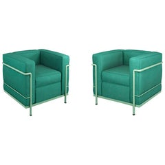 Set of two LC2 Armchair by Le Corbusier, Pierre Jeanneret & Charlotte Perriand