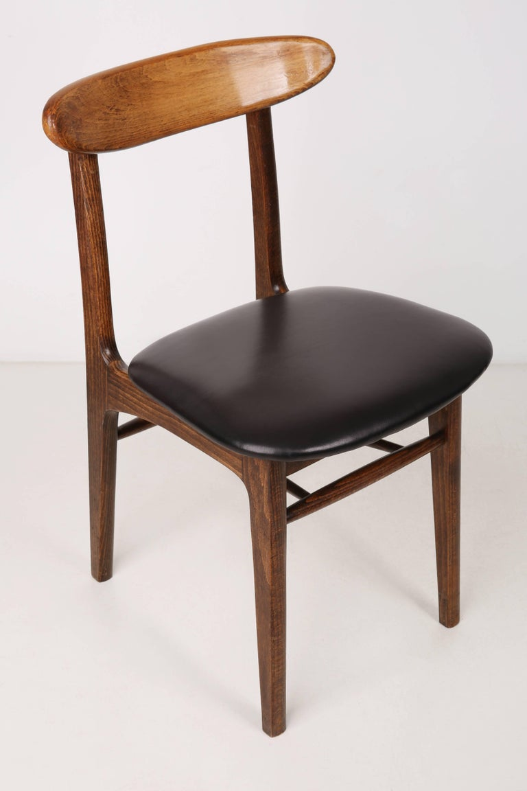 Mid-Century Modern Set of Two Leather 20th Century Black Chairs, 1960s For Sale