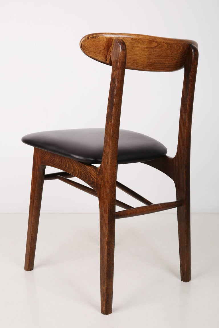 Polish Set of Two Leather 20th Century Black Chairs, 1960s For Sale