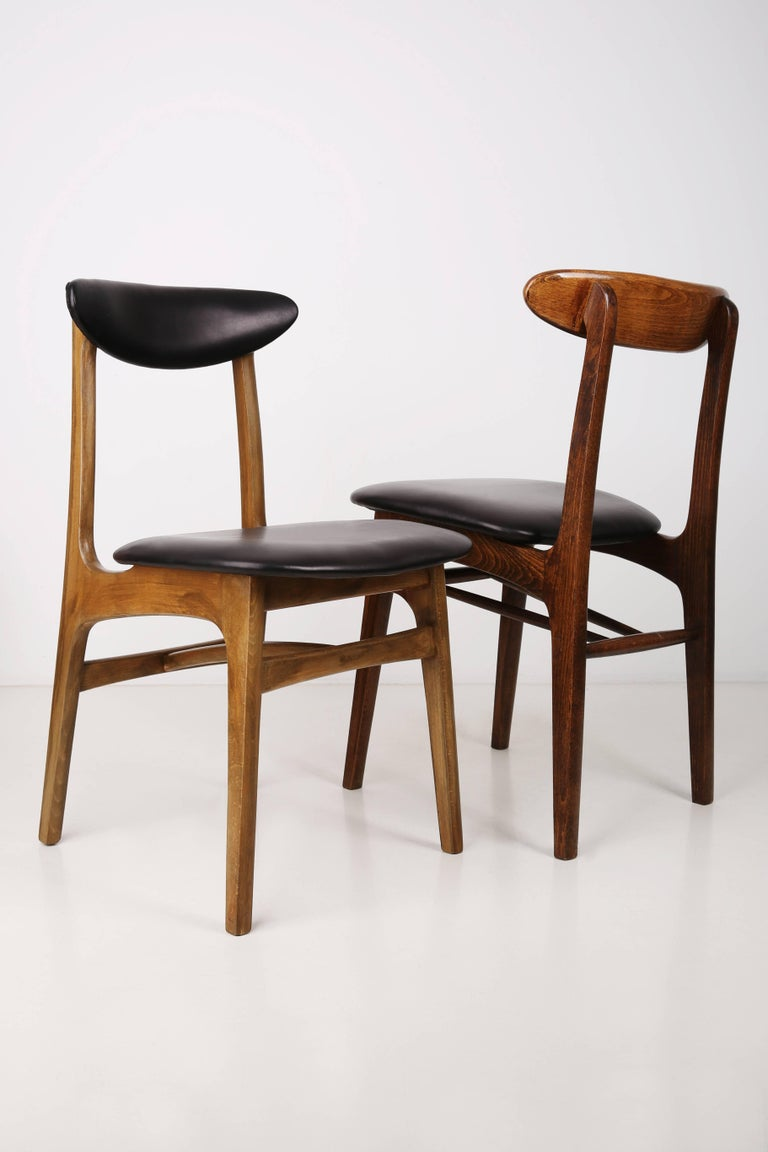 Hand-Crafted Set of Two Leather 20th Century Black Chairs, 1960s For Sale