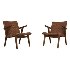 Set of Two Leather Webbed & Oak Lounge Chairs Attr. to Jens Risom & Knoll, 1950s