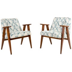 Set of Two-Light Green Pattern 366 Armchair, Jozef Chierowski, 1960s