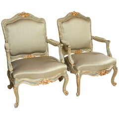 Louis XVI Style Armchairs / Bergeres  Parcel-Gilt and Paint Decorated