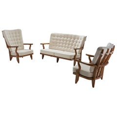 Set of Two Lounge Chairs and Sofa by Guillerme et Chambron, France, 1950s