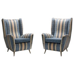 Set of Two Lounge Chairs by I.S.A. in Silk Upholstery and Brass, Italy, 1950s