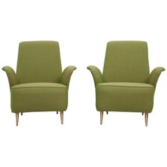 Set of Two Lounge Chairs in Fabric and Brass by i.S.a., Italy, 1960s