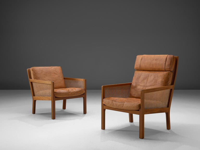 Scandinavian Modern Set of Two Lounge Chairs in Mahogany and Cognac Leather For Sale