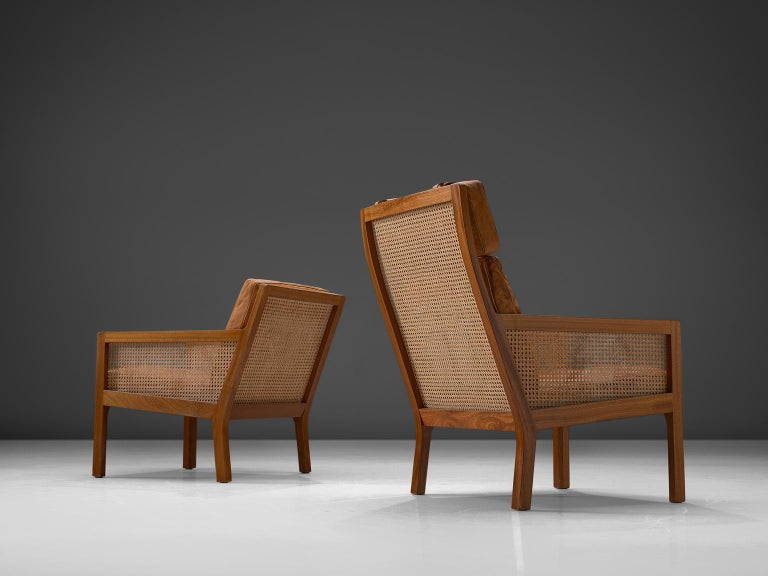 Danish Set of Two Lounge Chairs in Mahogany and Cognac Leather For Sale