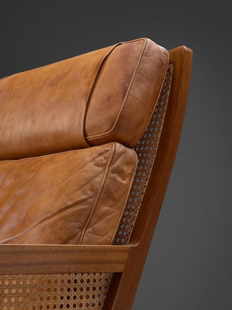 Set of Two Lounge Chairs in Mahogany and Cognac Leather In Good Condition For Sale In Waalwijk, NL