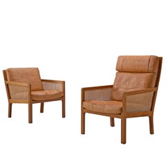 Set of Two Lounge Chairs in Mahogany and Cognac Leather