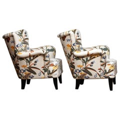 Pair Lounge / Easy Chairs by Ilmari Lappalainen For Asko with Josef Frank Fabric