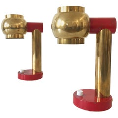 Set of Two Lovely Mid-Century Modern Brass Bedside Table Lamps, 1950s