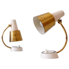 Set of Two Mid-Century Modern Bedside Table Lamps or Wall Lights, 1950s, Germany