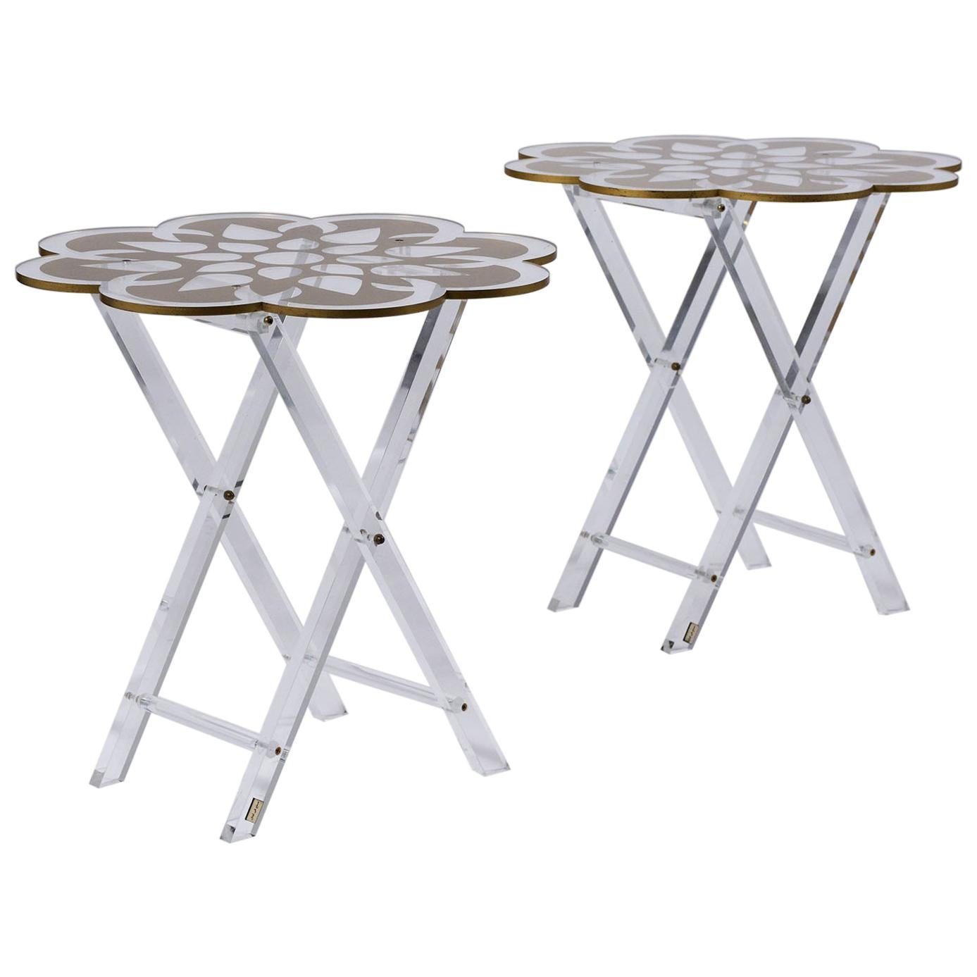 Set of Two Lucite Side Tables