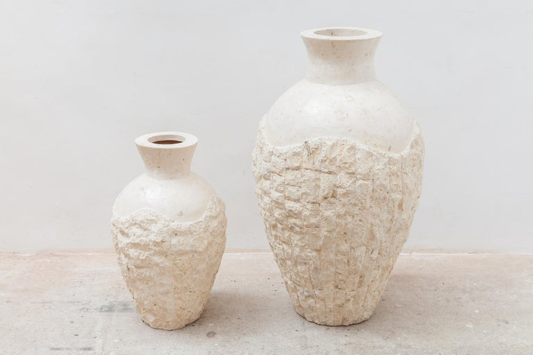 Set of Two Mactan Stone Large Floor Vases, 1980s For Sale 2