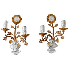 Set of Two Maison Baguès Crystal & Gilt Metal Sconces or Wall Lamps 1960s France